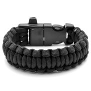 Black Paracord Bracelet With Steel Firestarter