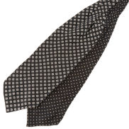 Cravatta ascot di seta fantasia geometrica a pois