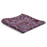 Червено-лилава копринена кърпичка за сако в стил барок