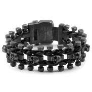 Black Skull Biker Chain karkötő sebészi acélból