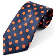 Jedwabny krawat w pomarańczowe groszki