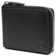 Montreal Zip-Lined Black RFID Leather Wallet