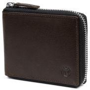 Portefeuille Montréal zippé en cuir marron RFID