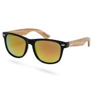 Gafas de sol de espejo de madera negras y rojizas