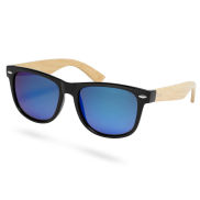 Eisblaue Bambusholz Sonnenbrille