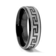 Černý designový prsten z oceli SL