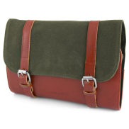 Beauty case Grover roll out in tela cerata verde oliva