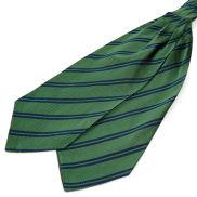 Grøn Silkekravat med Marineblå Dobbeltstriber
