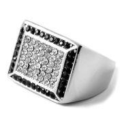 Stalen Ring Met Zilver/Zwarte Zirkonia