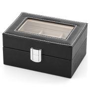 Elegant Black Faux Leather Cufflinks Box