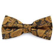Gold & Brown Paisley Polyester Pre-Tied Bow Tie