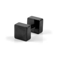 6mm Black Square Stud Earring