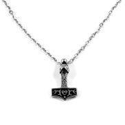 Edelstahl-Halskette mit Thors Hammer und Drachenkopf