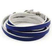 Bracelet lanière en cuir bleu