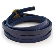 Blue Adjustable Twisted Leather Bracelet