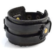 Широка черна кожена гривна с две каишки