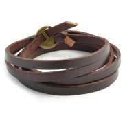 Brown Adjustable Twisted Leather Bracelet