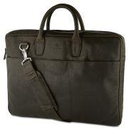 Маслиненозелена кожена бизнес чанта с два ципа Montreal