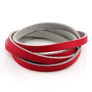 Rode Gedraaide Leren Armband