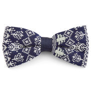 Blue and White Knitted Christmas Bowtie