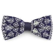 Noeud papillon de noël tricoté bleu et blanc