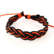 Zwart / Oranje Tripel Koord Armband