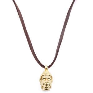 Collar de cuero con Buda dorado