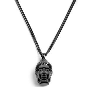Collar de acero negro con Buda