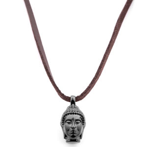 Collar de cuero con Buda negro