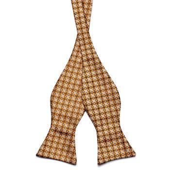 Pajarita para atar marrón y amarillo estilo retro