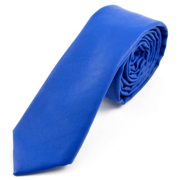 Corbata de cuero azul