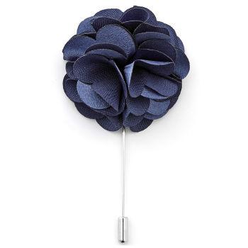 Flor de Lapela Luxuosa Azul Marinho