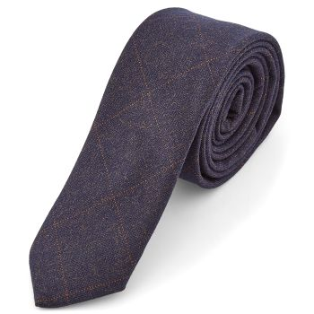 Corbata azul añil a cuadros