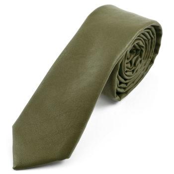 Corbata verde militar en cuero