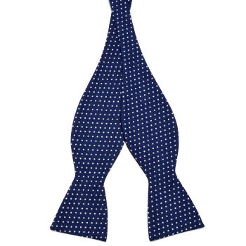 Navy Blue Dotted Cotton Self Tie Bow Tie