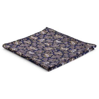 Pañuelo de bolsillo de seda con estampado cachemira marrón y morado
