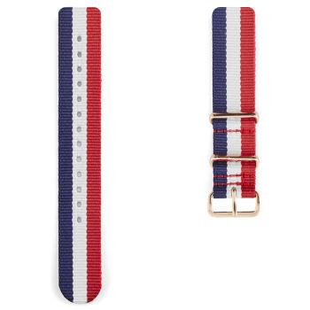 Correa para reloj OTAN rojo, azul, blanco y oro rosa