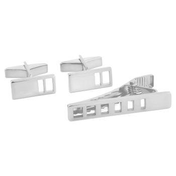 Set van 925 Zilver met Korte Dasspeld en Design van Aflopende Uitsparingen.