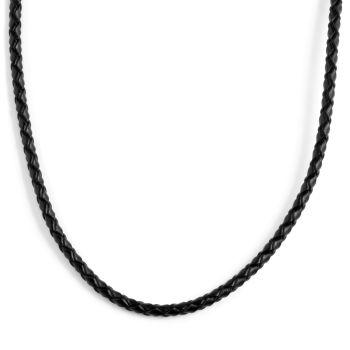 3mm Sort Vævet Læderhalskæde