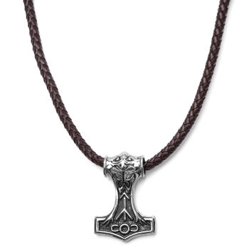 Skórzany brązowy naszyjnik z dwustronnymm motywem wikingów
