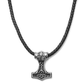 Skórzany czarny naszyjnik z dwustronnym motywem wikingów