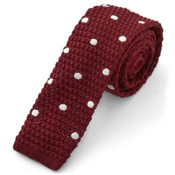 Corbata de punto caoba y blanca