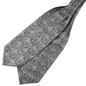 Hopeanharmaa kasmirkuvioinen polyesteri ascot-solmio