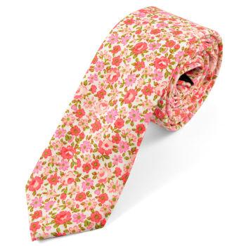 Corbata floreada en rosa y rojo