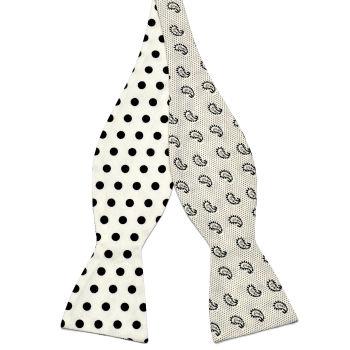 Pajarita para atar reversible de algodón en blanco y negro