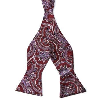 Pajarita de seda para atar barroca rojo y lavanda