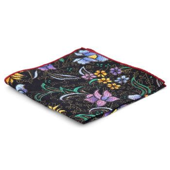 Pañuelo de bolsillo con estampado floral bordado