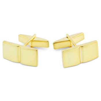 925s-Manchetknapper i Guld med Enkelt Rille