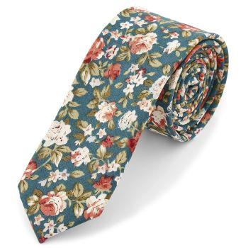 Corbata turquesa con flores