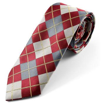 Corbata de seda a cuadros roja y gris